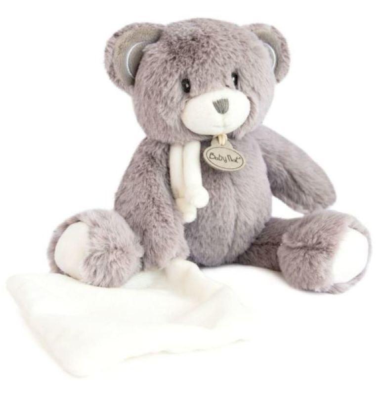 Peluche Ours avec mouchoir Pap'Ours Gris de chez Babynat, collection Les Poupis et les PapOurs