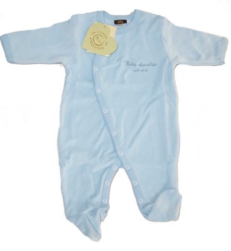 Bébé Chocolat Pyjama Bleu Coton Biologique - 3 Mois