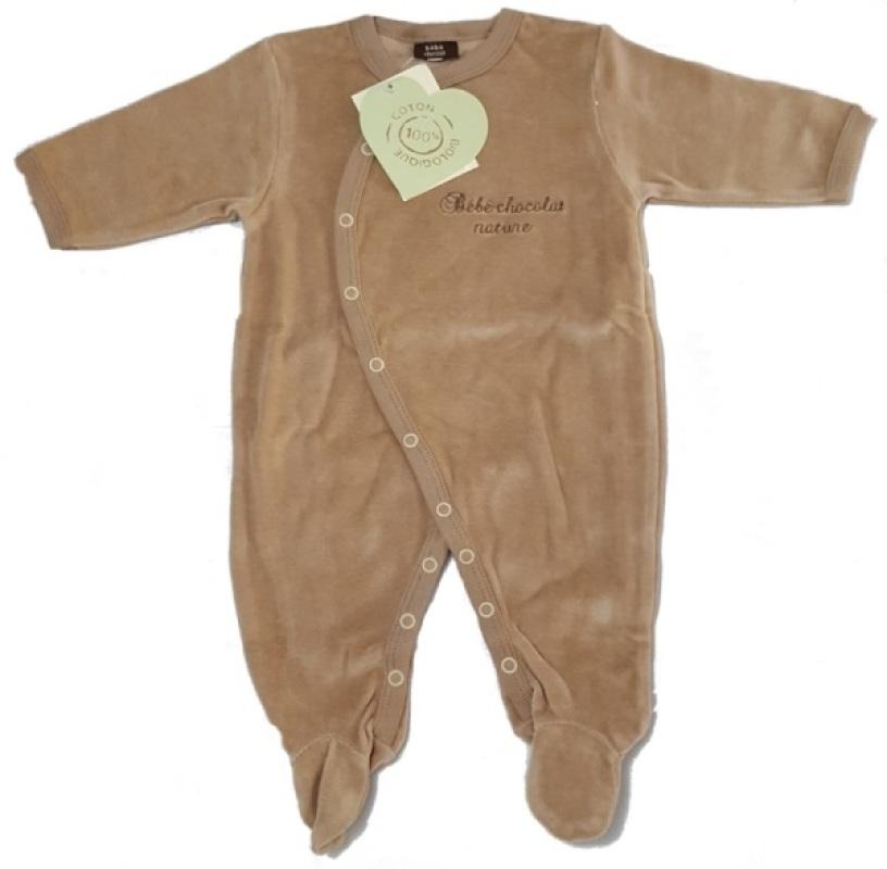 Bébé Chocolat Pyjama Marron Coton Biologique - 6 Mois