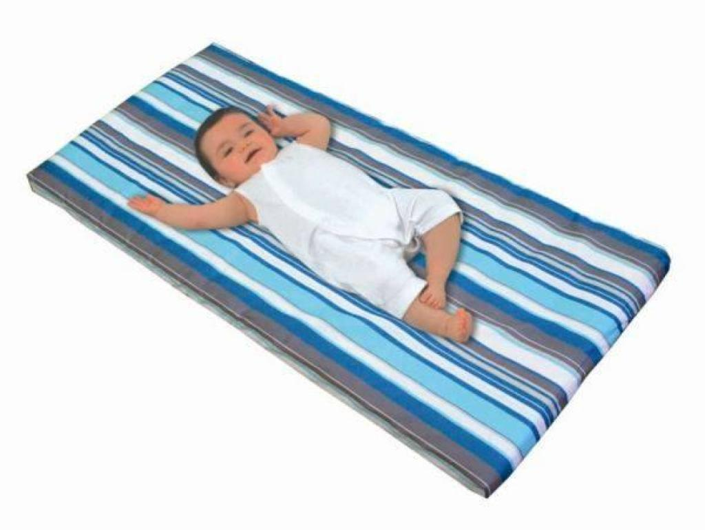 Candide Matelas Nomade Roulé Rayures Vert Turquoise
