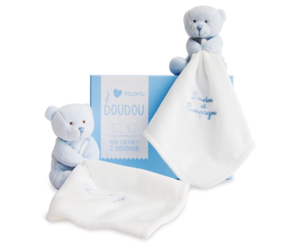 Doudou et Compagnie Duo Doudou Ours Bleu - 15 cm