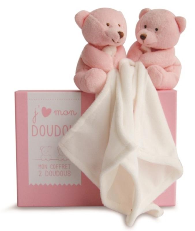 Doudou et Compagnie Duo Peluchette Ours Rose avec Doudou - 15 cm