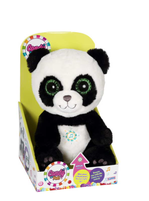 Gipsy Peluche Candy Pets Panda Lumineux et Sonore 24 cm