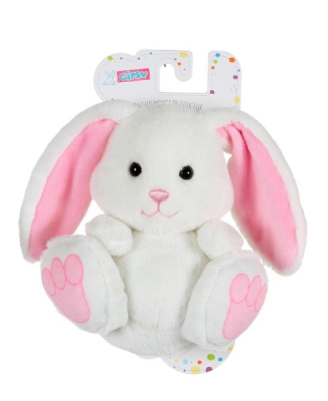 Gipsy Peluche P'tit Lapin empreinte blanc et rose - 15 cm