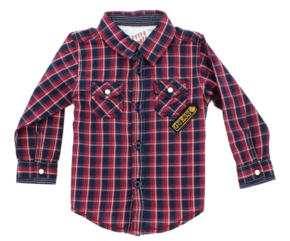 guess enfant chemise carreaux rouge et bleue 3 6 mois. Black Bedroom Furniture Sets. Home Design Ideas
