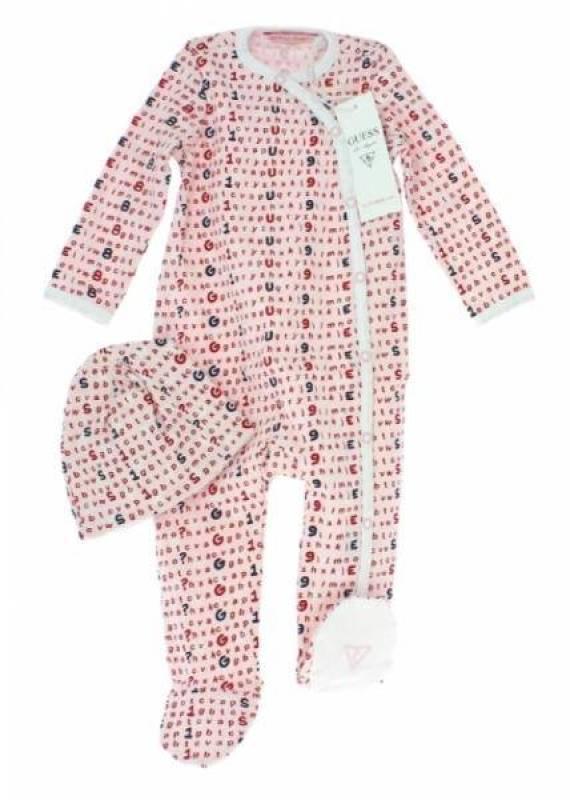 Guess Enfant Pyjama et Bonnet Alphabet Rose 12 mois