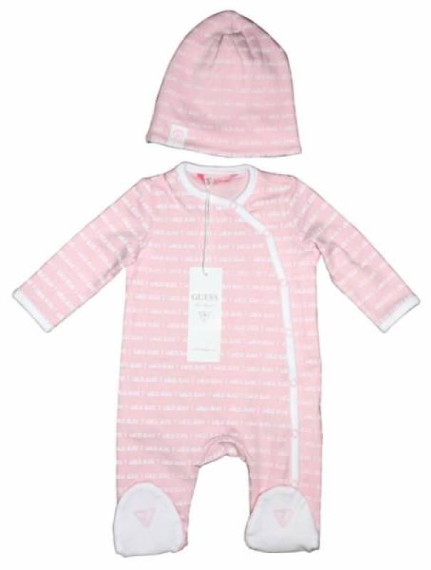 Guess Enfant Pyjama et Bonnet Rose 12 mois