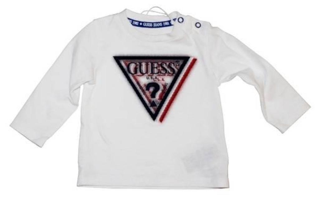 Guess Enfant Tee-Shirt Manches Longues Blanc 6/9 mois