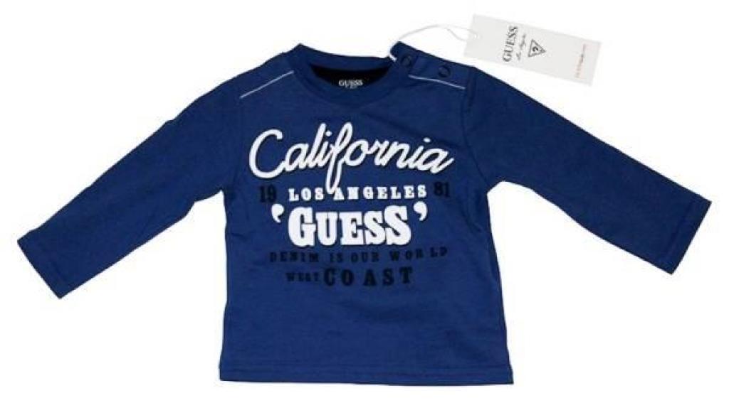 Guess Enfant Tee-Shirt Manches Longues Bleu Neon 18 mois