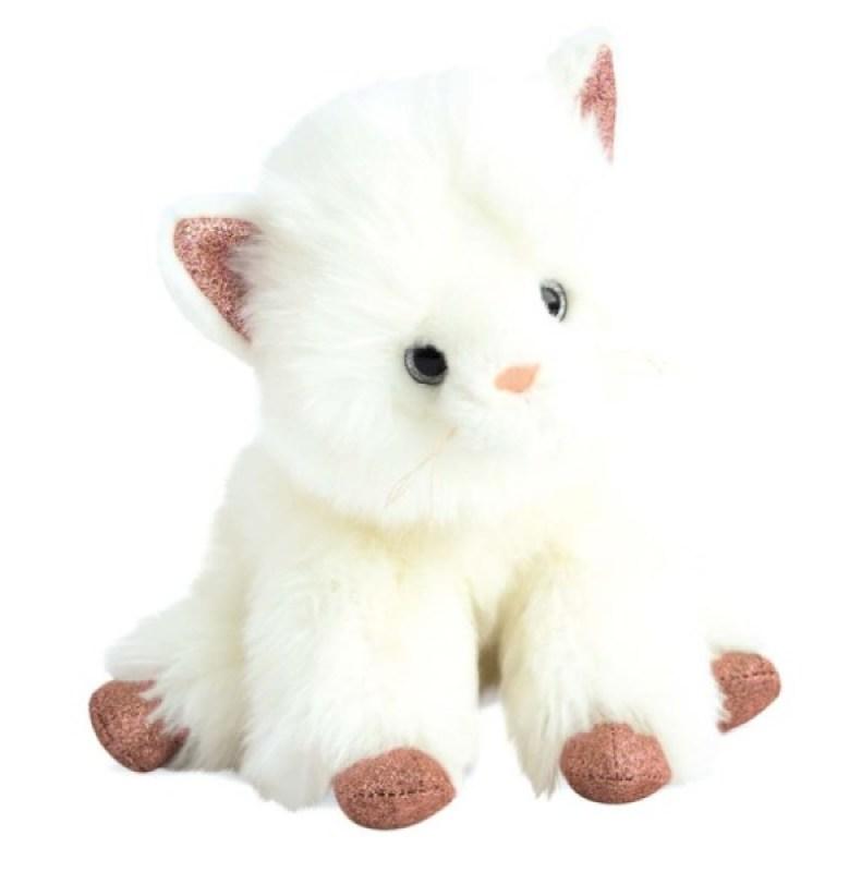Histoire d Ours Peluche Chat blanc et rose 25 cm