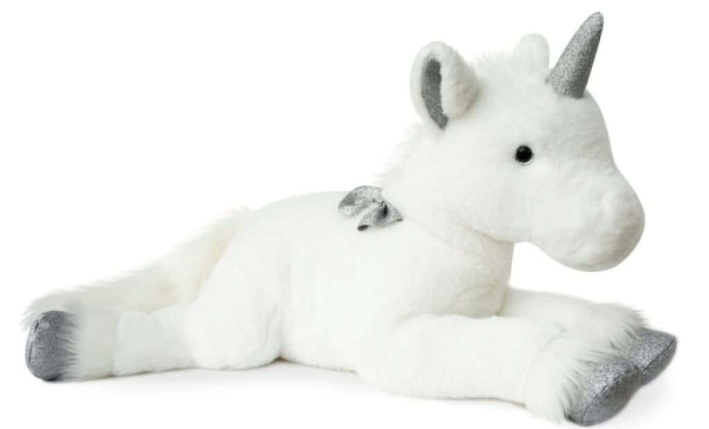 histoire d ours peluche licorne argent allong 60 cm. Black Bedroom Furniture Sets. Home Design Ideas