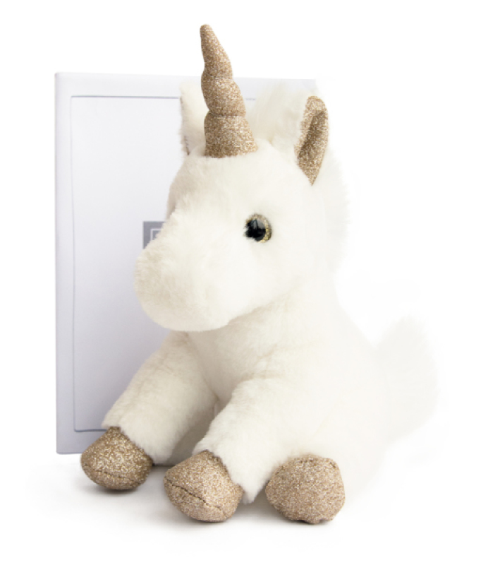 Histoire d Ours Peluche Licorne Assise Or - 23 cm