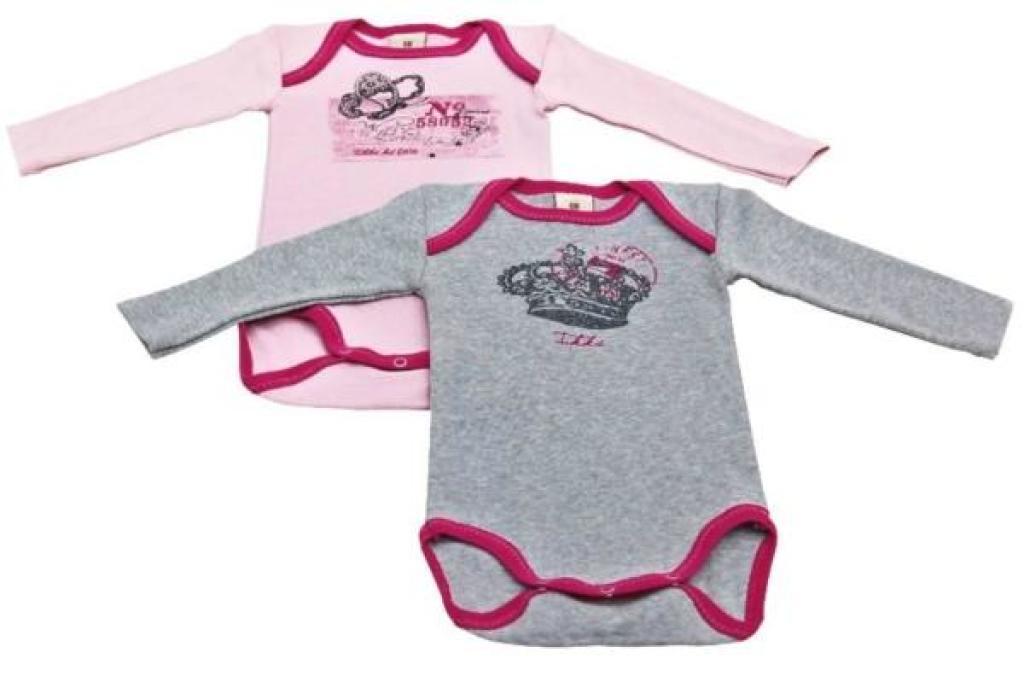 Lot de 2 Body Rose et Gris - 6 mois de chez IKKS, collection Queen Bébé Fille