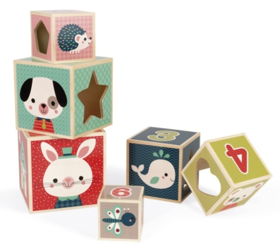 Janod Pyramide 6 Cubes Baby Forest