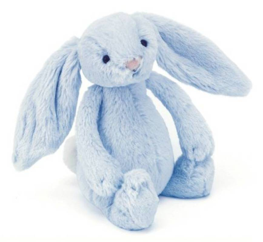 jellycat peluche lapin bleu bashful avec grelot 18 cm. Black Bedroom Furniture Sets. Home Design Ideas