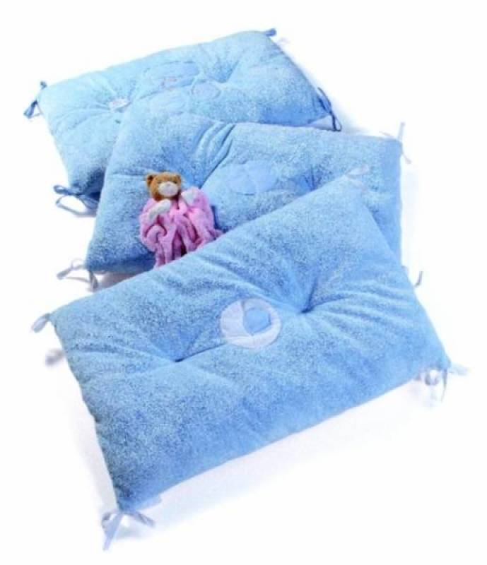 kaloo tour de lit r versible plume bleu. Black Bedroom Furniture Sets. Home Design Ideas