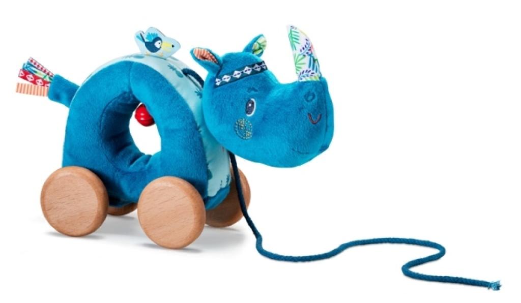 Lilliputiens Peluche à Tirer Rhinocéros Marius