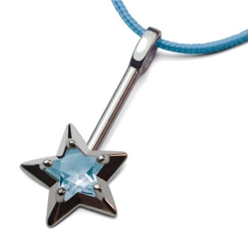 Mikado Pendentif Abracadabra Topaze Bleue Argent