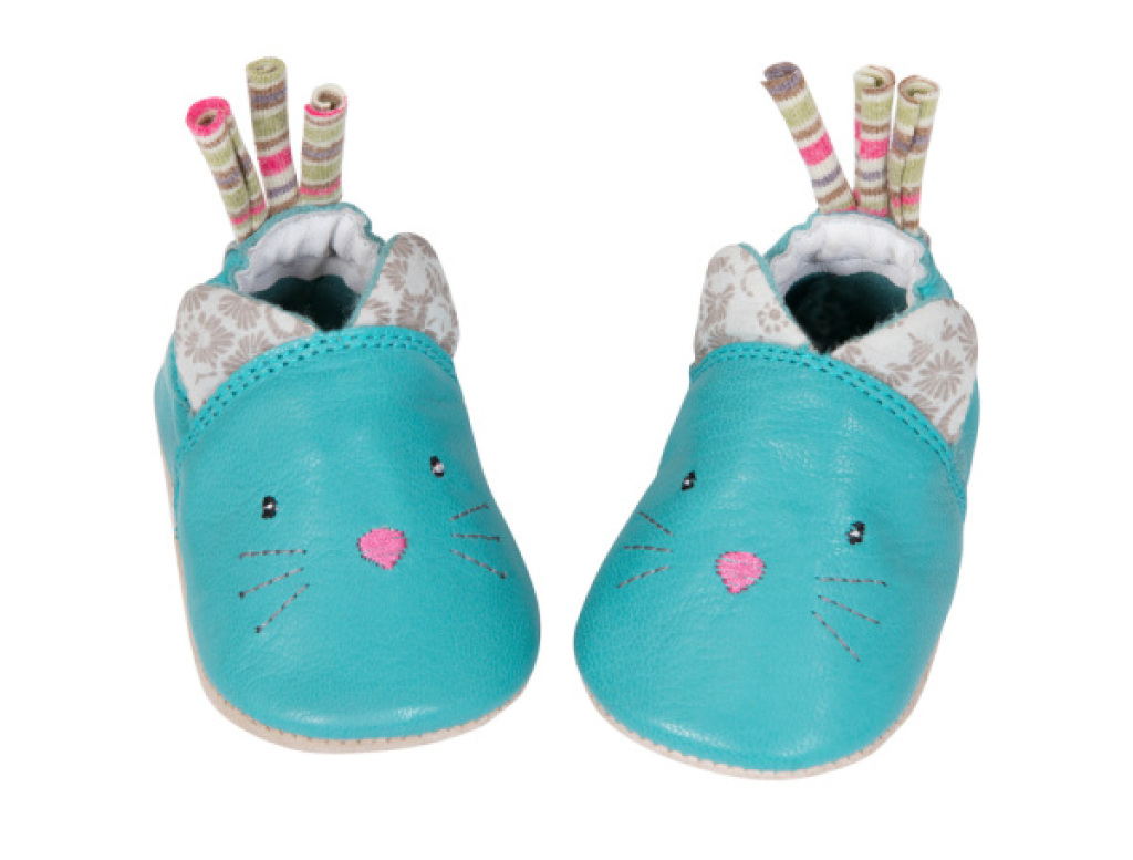 Moulin Roty Chaussons en Cuir Chat Les Pachats - 12/18 mois