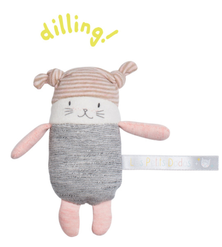 Moulin Roty Hochet Chat Moon Les Petits Dodos - 13 cm