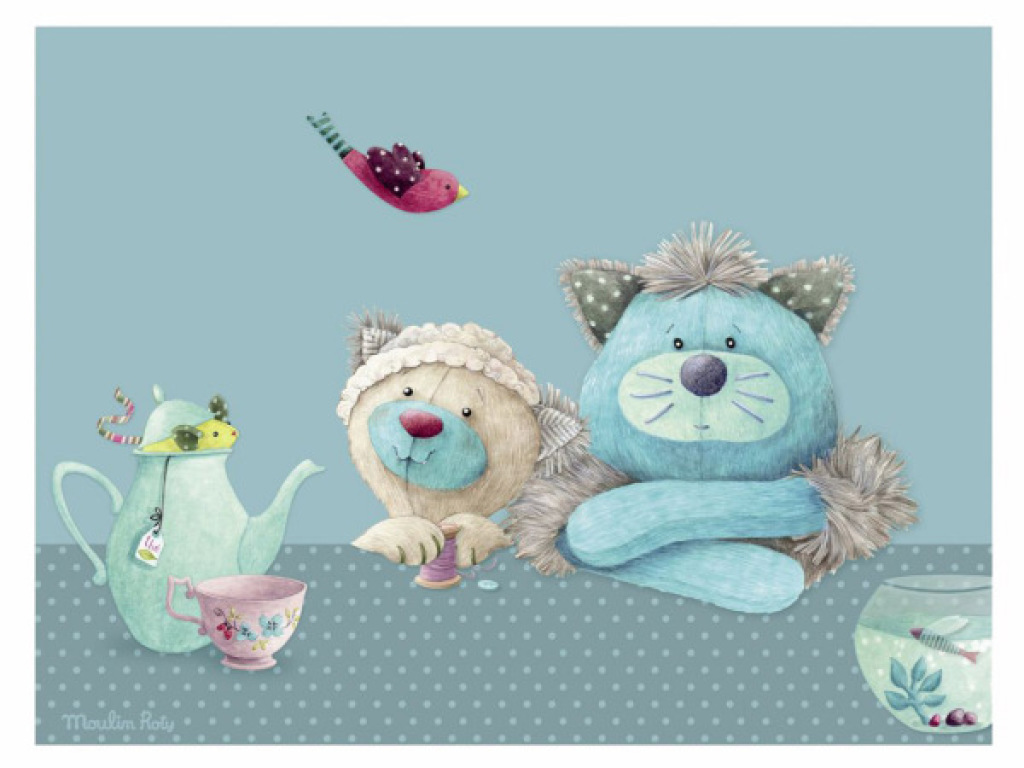 Moulin roty tableau chacha et minoucha les pachats 40x30 cm - Tableau moulin roty ...