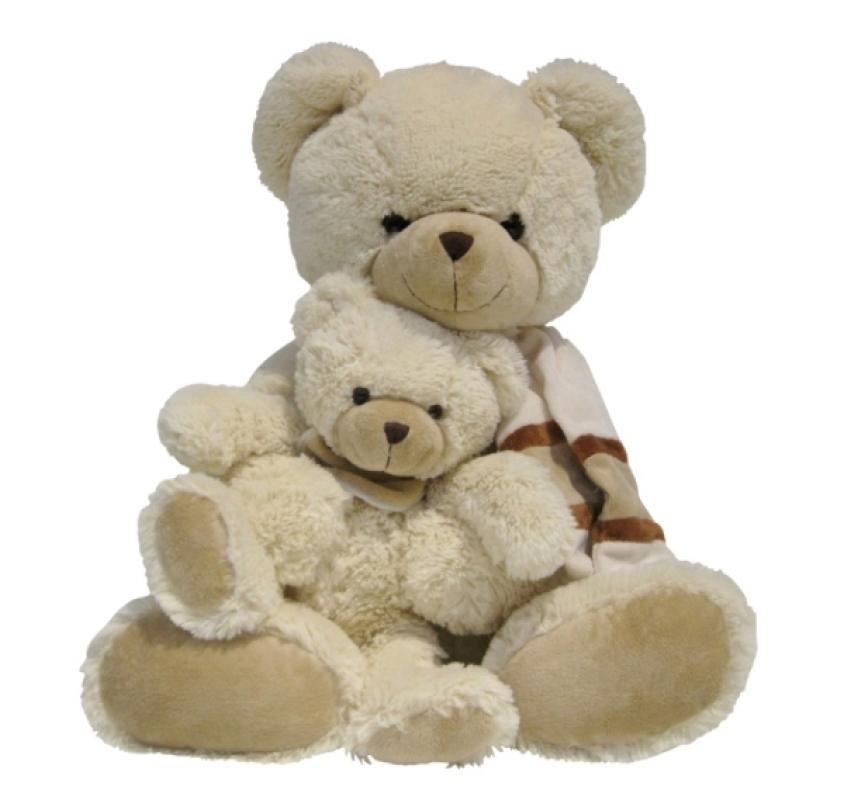 Nicotoy Peluche Ours avec Bébé Beige - 53 cm