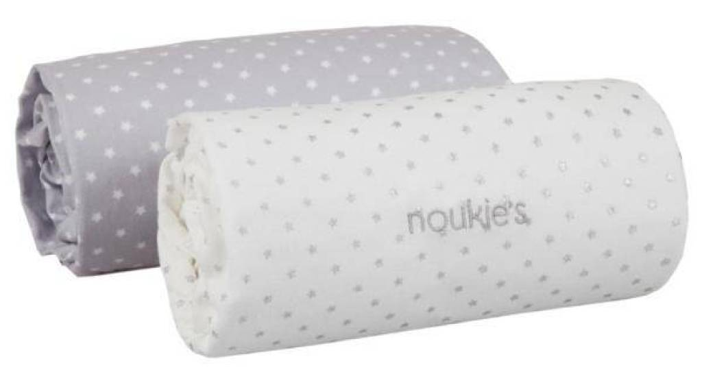 Noukies Lot de 2 Draps Housse Blanc et Gris Mix and Match - 70x140 cm