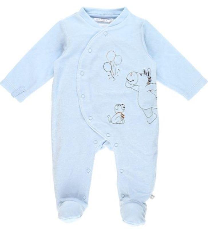Noukies Pyjama Achille et Zebrito Bleu Cocon - 1 Mois
