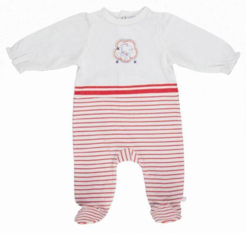Noukies Pyjama Jersey Rayé Rouge Victoria BDM Girl 12 mois