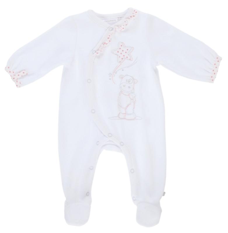 Pyjama Lola Velours Blanc - 6 mois de chez Noukies, collection Pyjamas Fille