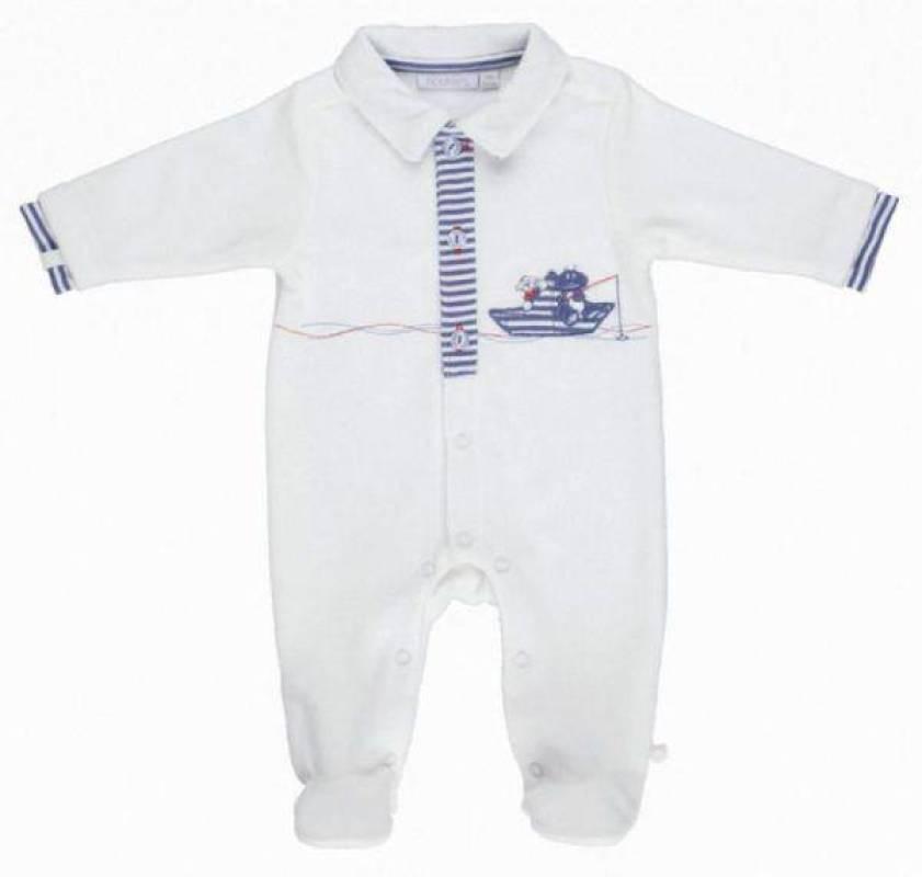 Noukies Pyjama Velours Blanc Bill et Bono BDM Boy