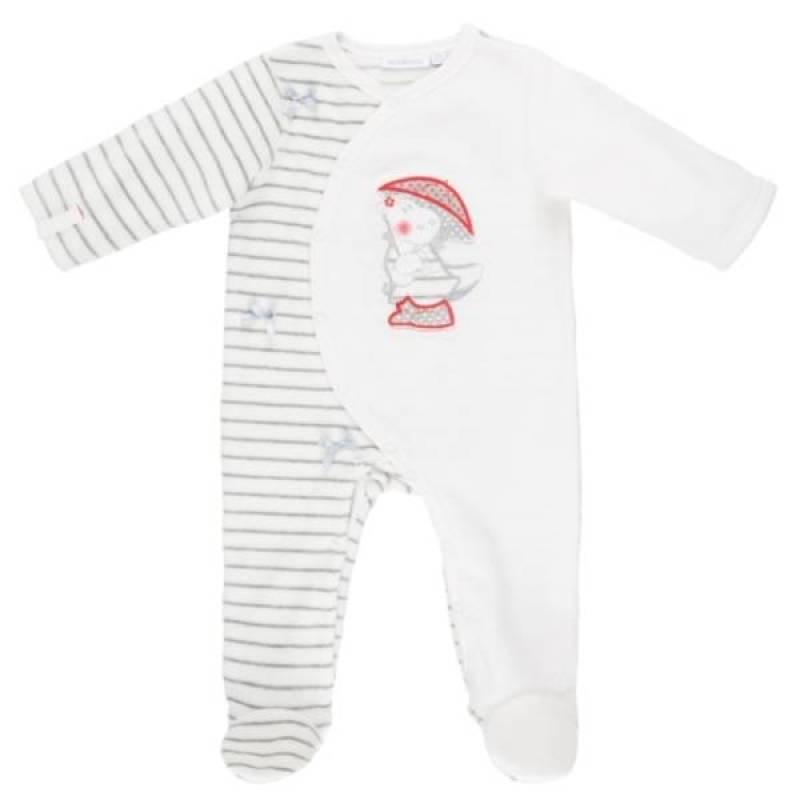 Noukies Pyjama Velours Blanc Gris Victoria BDM Girl - 6 mois