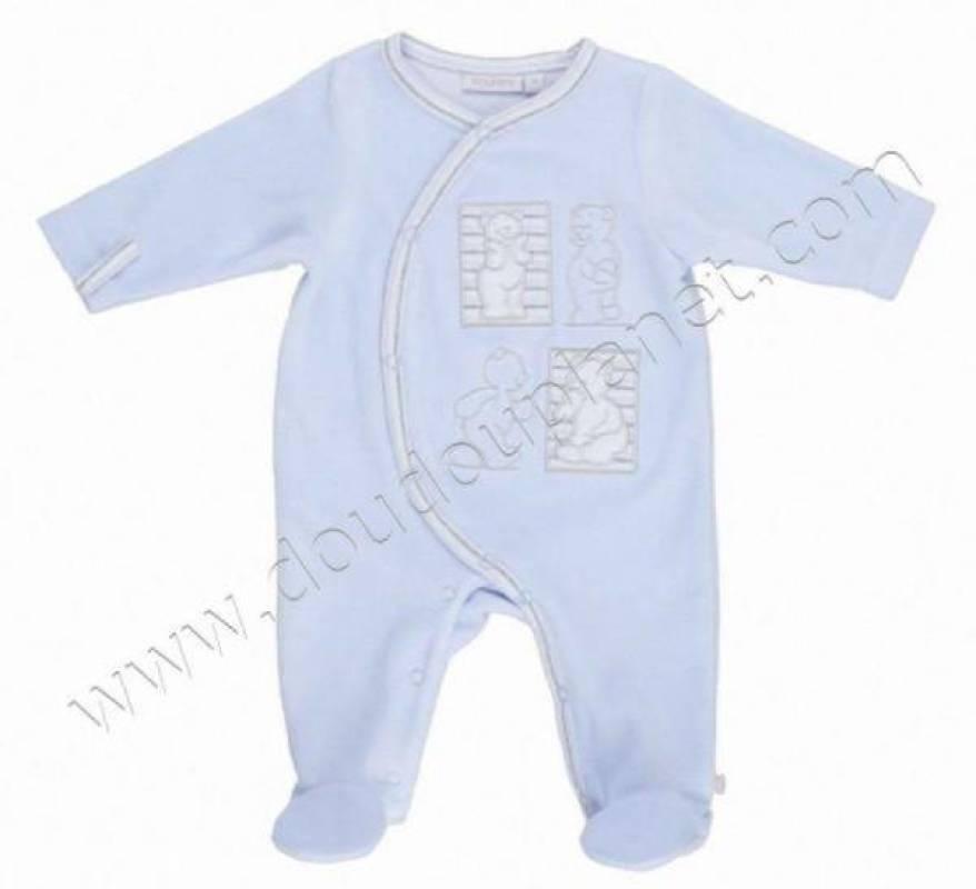 Noukies Pyjama Velours Bleu Nouky - 9 mois