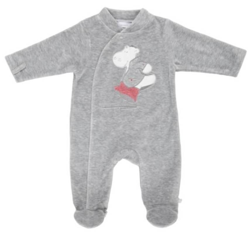 Noukies Pyjama Velours Gris Victor BDM Boy - 12 mois