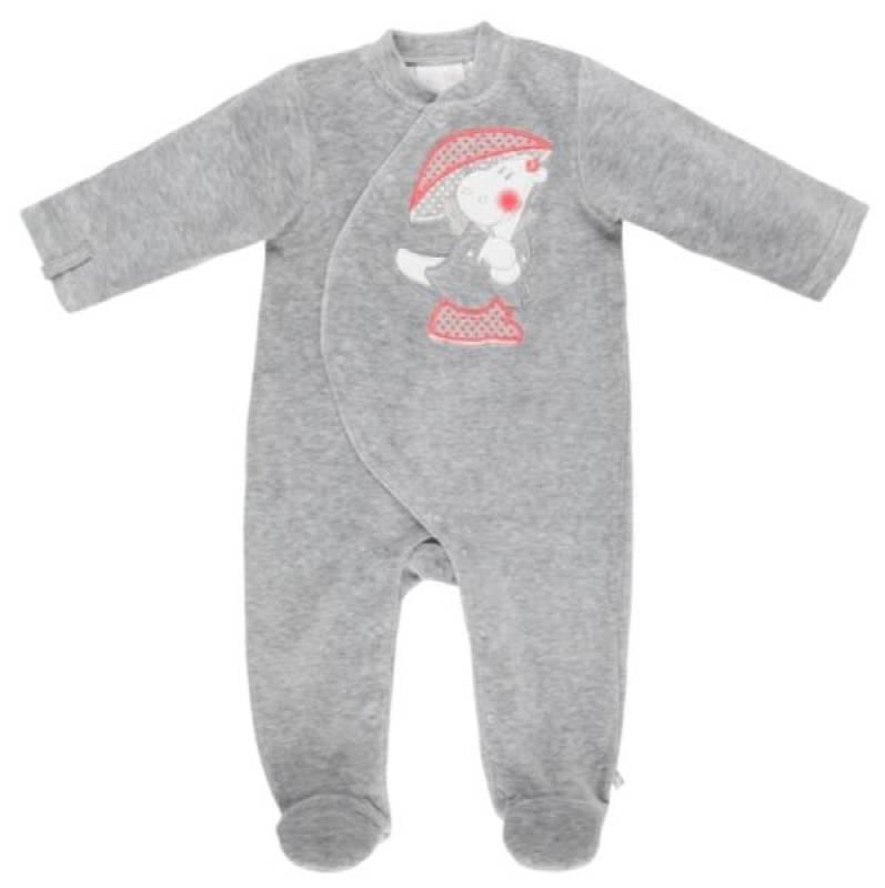 Noukies Pyjama Velours Gris Victoria BDM Girl - 12 mois