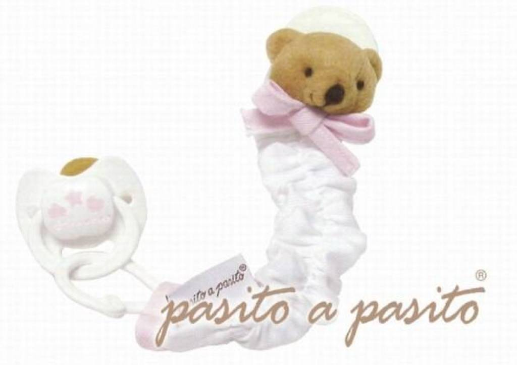 Pasito A Pasito Attache Tétine Ours Rose