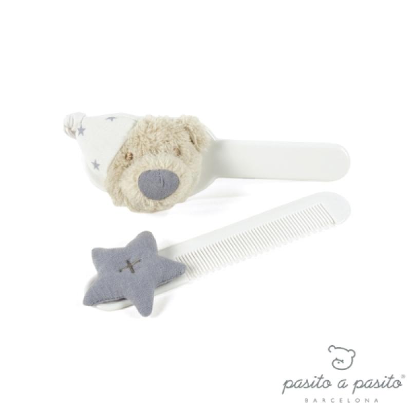 Brosse et Peigne Amélie Bleu de chez Pasito A Pasito, collection Bébé Pasito