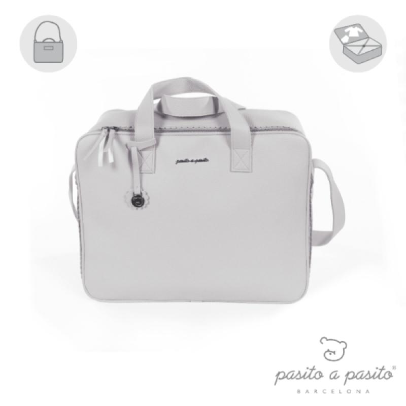 Valise de Maternité Biscuit Grise de chez Pasito A Pasito, collection Biscuit