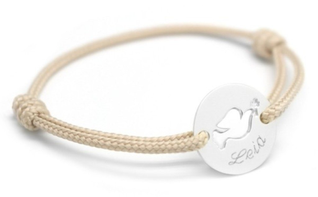Petits Trésors Bracelet Mini Jeton Colombe Argent