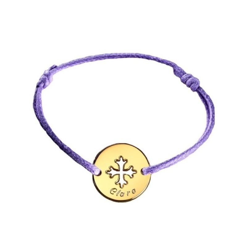 Petits Trésors Bracelet Mini Jeton Croix Occitane Plaqué Or