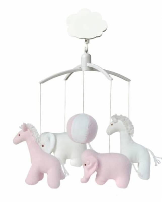 Trousselier Mobile Musical Girafe et Eléphant Rose et Blanc