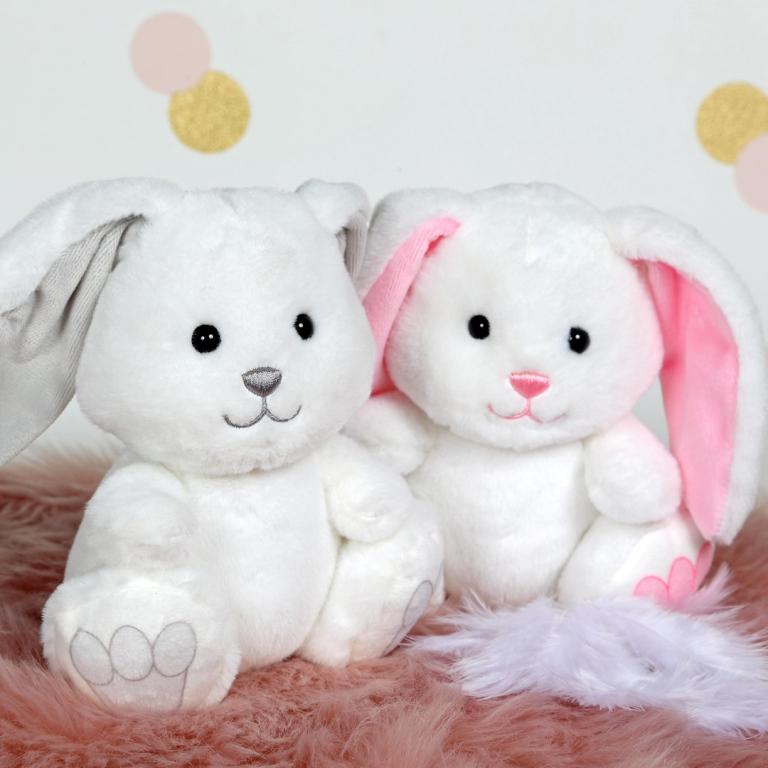 Peluche Ptit Lapin empreinte blanc et rose - 15 cm
