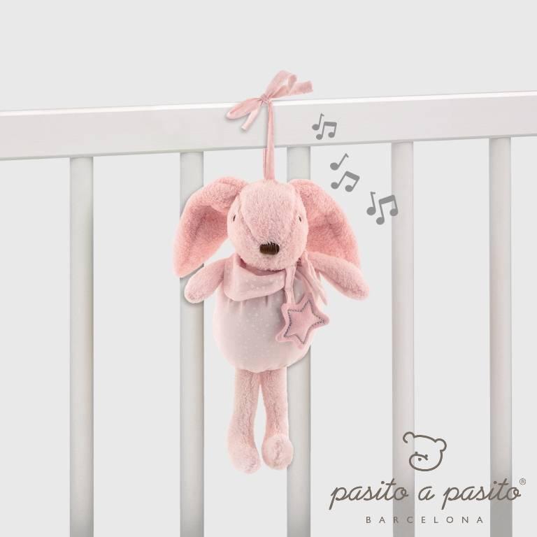 Peluche Musicale Lapin Etoile Rose - 25 cm