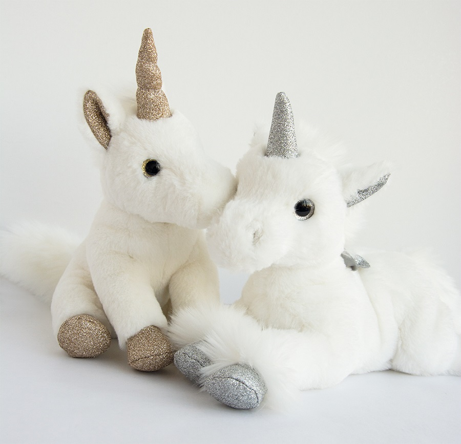 Peluche Licorne Assise Or - 23 cm