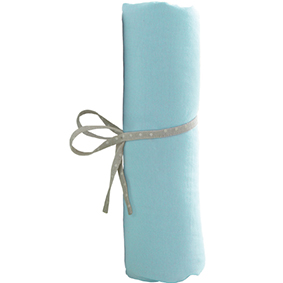 Lot de 2 Draps Housse Blanc et Turquoise - 70x140 cm