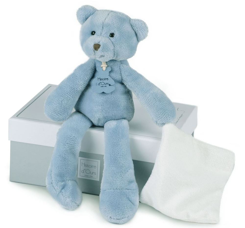 Peluche Pantin Ours Bleu Sweety - 30 cm