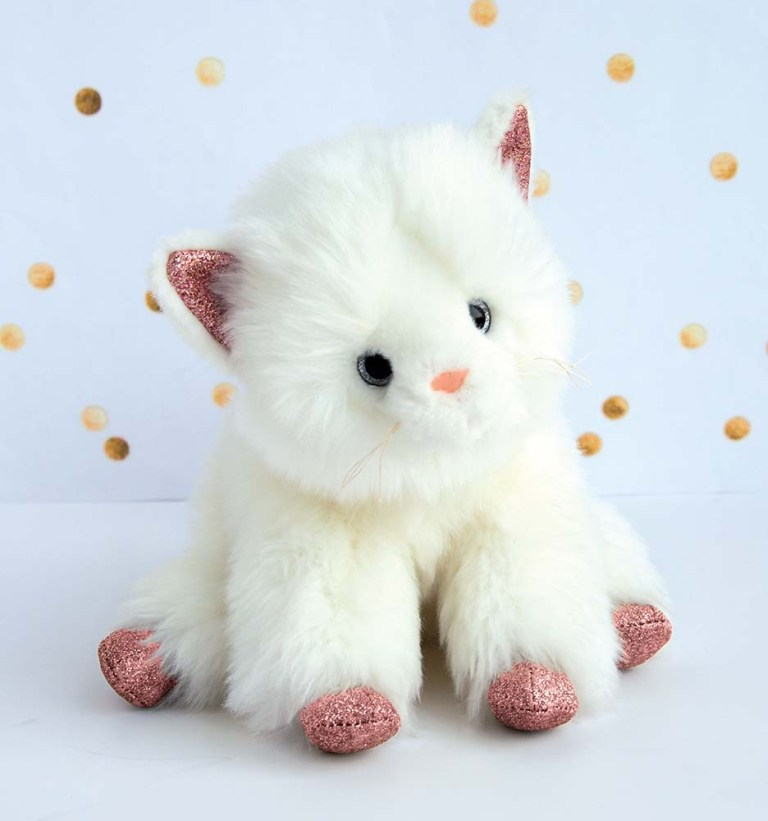 Peluche Chat blanc et rose 25 cm