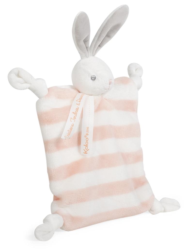 Doudou Lapin Pêche et Crème Bébé Pastel - 20 cm
