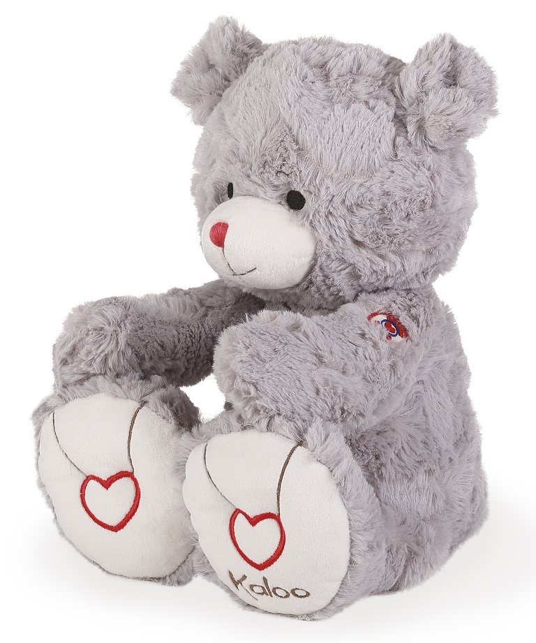Peluche Large Ours Gris - Rouge