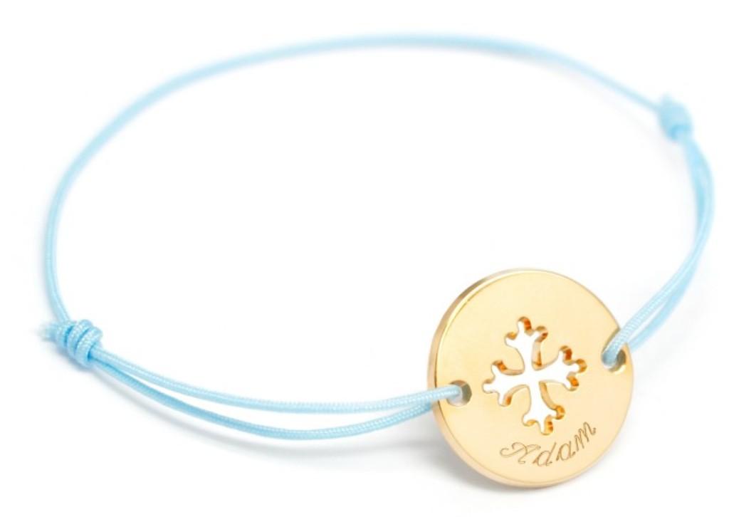 Bracelet Mini Jeton Croix Occitane Plaqué Or